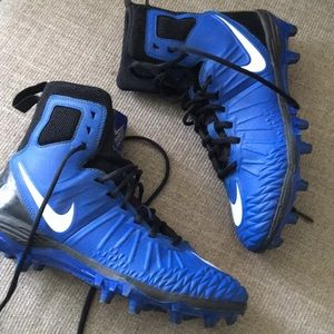 Men's Blue and Black Nike Football Cleats Spikes
